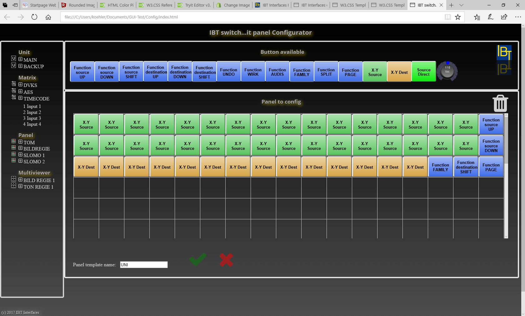 The custom panel layout configurator was started to be able to implement custom layouts on our web panels with buttons and rotary encoders. Actually we work on it to set it up to the new UI frontend for the switch...it web GUI configurator.